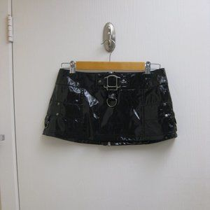 NWOT Lip Service black vinyl mini skirt XS extra s
